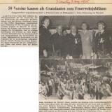 Im August 1975 feiern die Ludwigsthaler das 100-jährige Bestehen der Freiwilligen Feuerwehr. Bei strahlendem Sonnenschein  ziehen 50 Vereine mit ihren  Fahnen durchs Dorf.